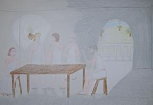 Hermia, Lysander, Demetrius, Egeus, and Theseus quarrelling.